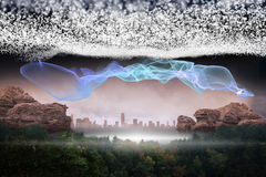 Bright stars of energy. Over landscape Royalty Free Stock Photo