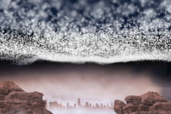 Bright stars of energy over cityscape. And rocks Royalty Free Stock Image