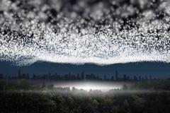 Bright stars of energy. Over landscape Stock Photo