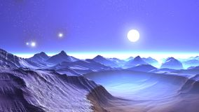 Bright Stars and UFOs over Snow-covered Mountains. On the dark sky bright sun in a halo and UFO flying slowly. The mountains are covered with snow. In the stock footage