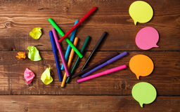 Bright stationery objects on wooden table close up royalty free stock image