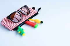 Bright stationery pens in the form of a cactus, watermelon, pineapple in a pencil case and sunglasses on a blue background. Back royalty free stock image