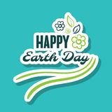 Sticker Happy Earth Day Flowers vector illustration