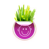 Bright sticker with green realistic grass and smile Stock Image