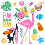 Bright stickers collection. Vector summer set with pink flamingo, monstera leaf, tropical leaves flowers, ice cream, toucan, fish, pineapple, coconut. Bright Royalty Free Stock Images