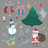 Bright stickers set of doodle Christmas elements. Bright colorful stickers set of doodle Christmas elements including fir, snowman, Santa Claus, giftboxes stock illustration