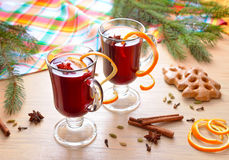 Bright still life with mulled wine Stock Image