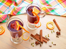 Bright still life with mulled wine Stock Images