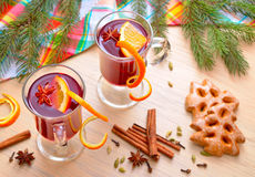 Bright still life with mulled wine Royalty Free Stock Image