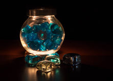 Bright stones in a glass jar Royalty Free Stock Images