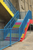 Bright strairs to the future. Colorful concrete stairs painted as street art regeneration project Stock Photo