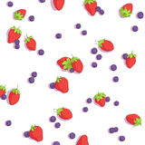 Bright strawberries and blueberries Royalty Free Stock Images