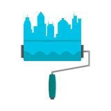 Bright stripe painted on a wall paint roller. City skyline. Logo concept. Blue flat vector cartoon illustration  on white Royalty Free Stock Photos