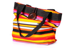 Bright striped beach bag Stock Photography