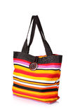 Bright striped beach bag Royalty Free Stock Photo