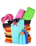 Bright striped beach bag Stock Photo