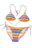 Bright striped bikini royalty free stock photos