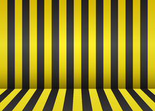 Bright striped scene. Empty room with wall and floor interior. Y. Ellow and black background for a festive design. Vector illustration. Abstract creative Stock Photography