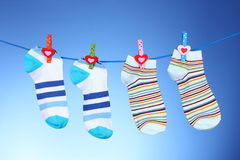 Bright striped socks Stock Photos
