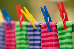 Bright striped socks on clothesline Stock Photography