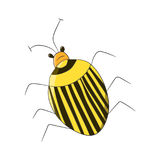 Bright striped yellow beetle in the style of children-s drawings. Vector illustration. Drawing by hand. Stock Photo