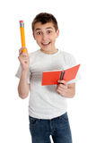 Bright Student with Pencil and Notebook Royalty Free Stock Photography
