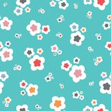 Bright stylised floral pattern on a turquoise backround. A cute vector tossed repeat pattern ideal for children. Bright stylised floral pattern on a turquoise vector illustration