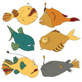 Bright and Stylish Deep-water Fishes. Collection of sad, tired, scared and serious deep-water fishes for children book illustration, flash card games, stickers Royalty Free Stock Photo
