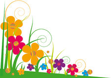Bright stylized flowers. Background with bright colored flowers and grass Royalty Free Stock Image