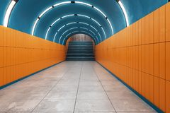 Bright subway metro. Bright metro subway underground tunnel interior with stairs. Transport concept. 3D Rendering Stock Photo