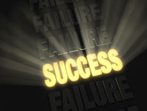 Bright Success in String of Failures. On a dark background, brilliant light rays burst from a glowing, gold SUCCESS in a row of FAILUREs Royalty Free Stock Photography