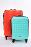 Bright suitcases for travelling. Stock Photo