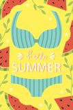 A bright summer card. Greeting card. Beach party. stock photo