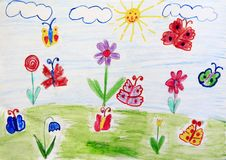 Childish drawing of clearing with flowers rainbow and butterflies. Bright summer. Childish drawing of clearing with flowers rainbow and butterflies. Childish art stock illustration