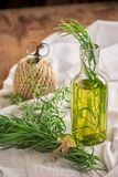 Bright summer drink tarragon in glass bottles and Royalty Free Stock Image