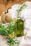 Bright summer drink tarragon in glass bottles and Royalty Free Stock Photo