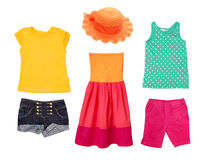 Bright summer fashion kid girl clothing. Royalty Free Stock Photos