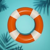 Bright summer flat lay illustration. 3d render of life buoy on blue background. Flat lay. Palm leaves shades. Resort and vacation safety conceptual illustration Royalty Free Stock Image