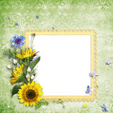 Bright summer frame with colorful flowers Royalty Free Stock Photo
