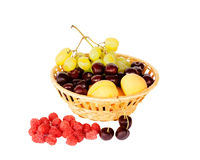 Bright summer fruits in basket isolated. On white Stock Photography