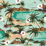 Bright summer hawaii seamless island pattern vector. Landscape. With palm trees,beach and ocean vector hand drawn style on light blue color background stock illustration