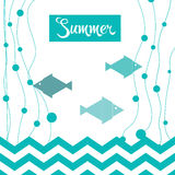 Bright Summer Holidays cards. With sea elements. Template frame design for banner, placard, invitation. Blue vector background vector illustration
