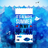 Bright summer holidays poster. Hexagon background. Typography de Stock Photography
