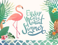 Bright summer illustration with lettering. Stock Photography