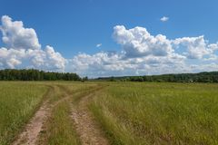 Bright summer landscape with blue sky. Country road through a field in the countryside. Moscow region, Russia. Bright summer landscape with blue sky. Country royalty free stock photo