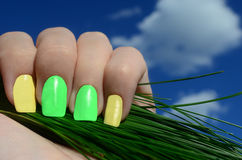 Bright summer manicure Stock Photos