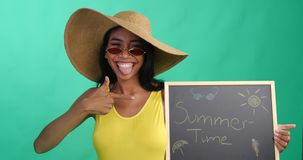 Bright Summer Portrait Of Beautiful Smiling Woman With Written Summer Time On The Chalk Board Over Green Screen Background Royalty Free Stock Photography