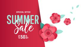 Bright summer sale banner, poster in trendy design. Summer sale banner background layout with flowers. Easy editable for Your design Stock Photo