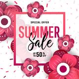 Bright summer sale banner, poster in trendy design. Summer sale banner background layout with flowers. Easy editable for Your design Royalty Free Stock Photo