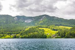 Bright summer scene of Hintersee lake. Picturesque morning view of Bavarian Alps on the Austrian border, Germany, Europe. royalty free stock photography